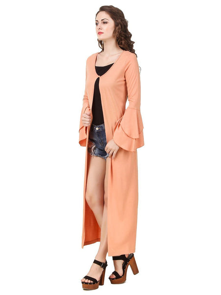 Texco Women's Double Layered Ruffled Sleeve Long line Shrug - Fashiano