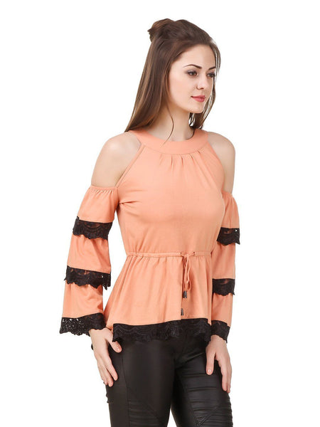 Texco womens cold shoulder tiered lace inserted sleeve boho trendy top - Fashiano