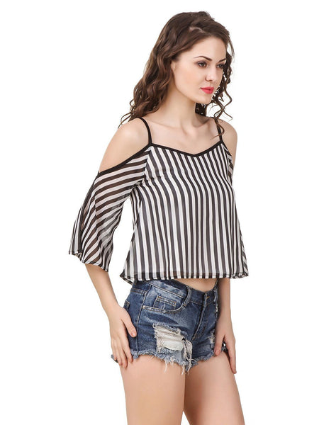 Texco Women Stripe Cold Shoulder Stylish Trendy Top - Fashiano