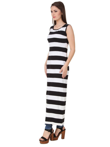 Texco Stripe High Slit Sexy Party Maxi Top - Fashiano