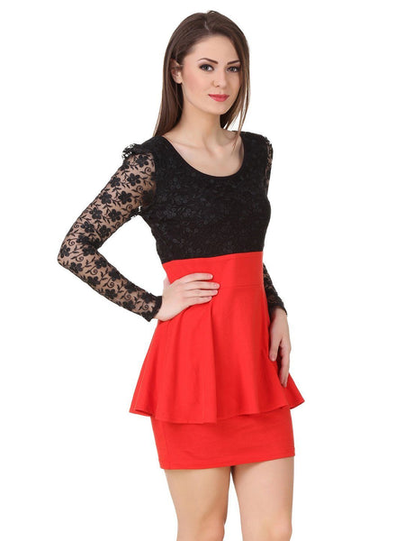 Texco Lace Peplum Party Dress - Fashiano