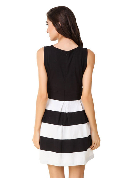 Texco Stripe Skater With Pockets Summer Dress - Fashiano