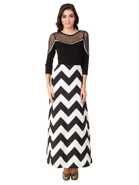Texco Chevron Printed Embellished Neck Party Dress - Fashiano