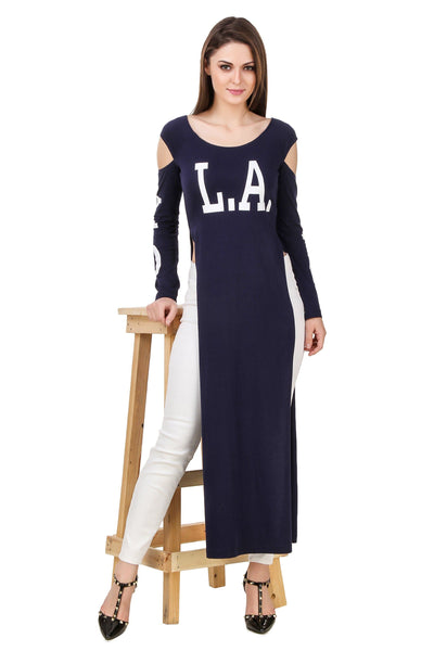 Texco Slogan Printed High Slit Maxi Top - Fashiano