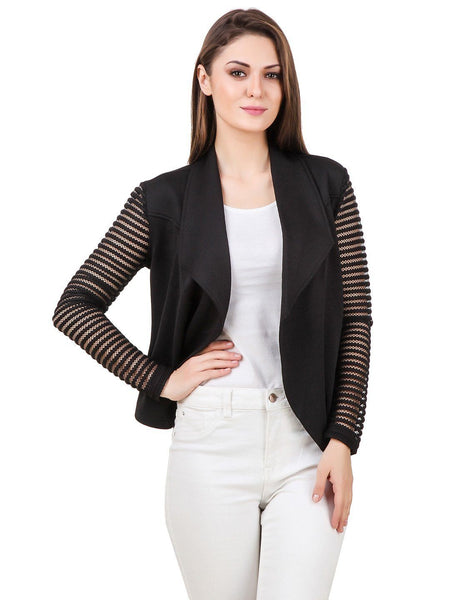 Texco Waterfall Open Front Lace Long Sleeves Jacket - Fashiano