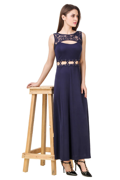 Texco Lace Cut Out Crew Neck With Tie Up Waist Detailing Evening Dress - Fashiano