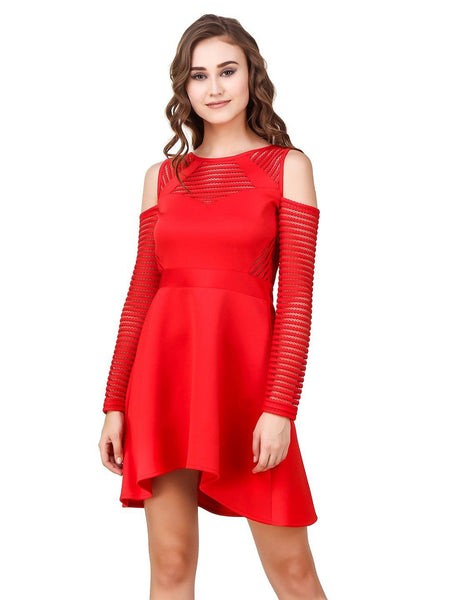 Texco Cut Out Shoulder Lace Party High Low Skater Dress - Fashiano