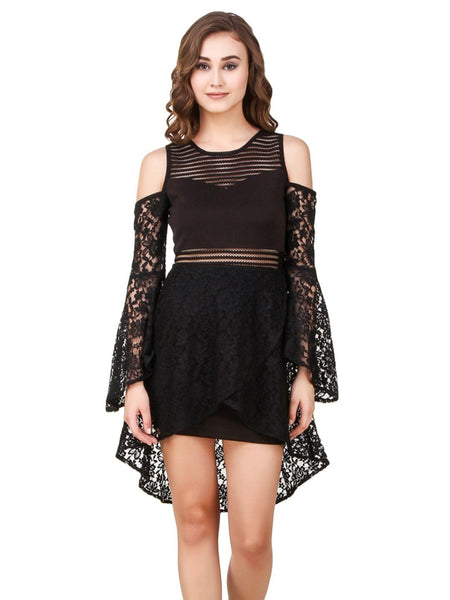 Texco Cut-Out Shoulder Volume Full Sleeve Lace Party High-Low Layered Skater Dress - Fashiano
