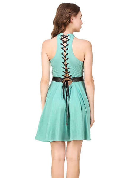 Texco Melange Grommets Leather Detailing Stylish Tie Knots Back Skater Party Dress - Fashiano