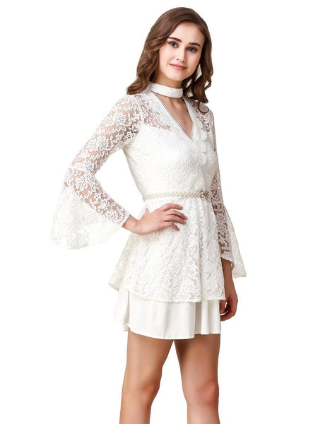 Texco Lace Ruffled Long Sleeves Layered Dress With Pearls Embellished Belt - Fashiano