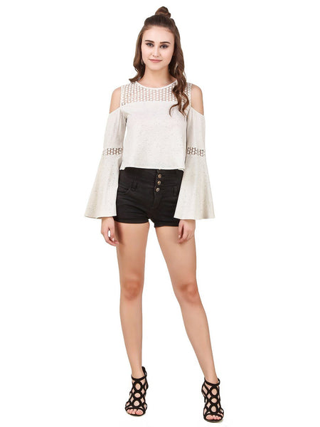 Texco Lace Detailing Self Designed Fabric Flutter Long Sleeve - Fashiano
