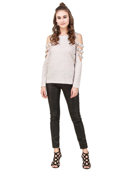 Texco Self Textured Cut-Outs Grommets Embellished  Detailed Long Sleeves Stylish Top - Fashiano