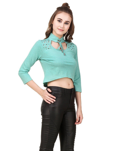 Texco Grunge Look Studs Embellished Tie- knot Choker Neck Crop Top - Fashiano