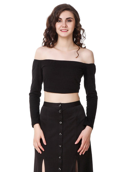 Texco Shoulder Long Sleeve Crop Top - Fashiano