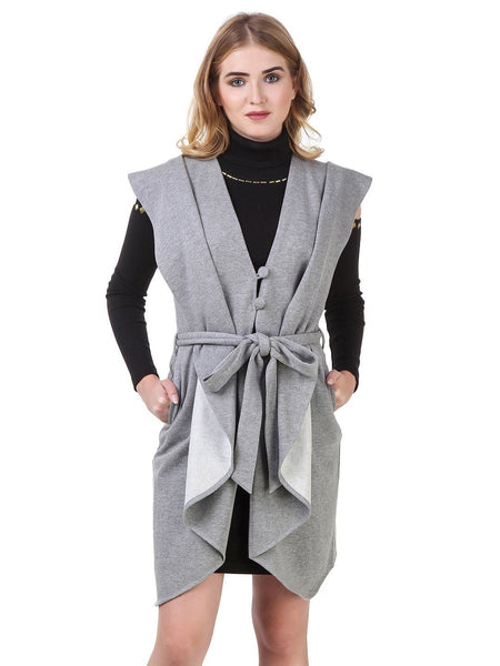 Texco Open Front Waist Belted Sleeveless Long line Waterfall Coat - Fashiano