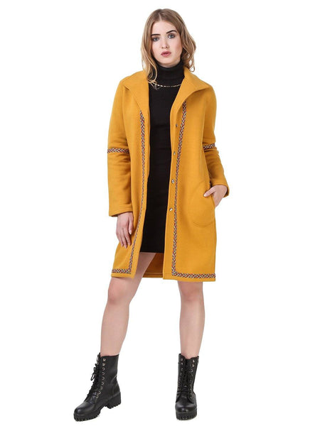 Texco Long line Lace Detailed Lapel Collar Party Coat - Fashiano