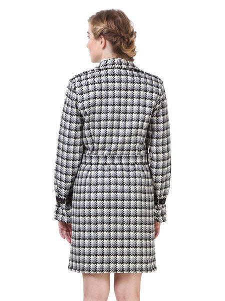 Texco Check Belted Detailed Double Breasted Party Coat - Fashiano