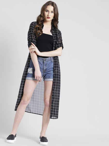 Texco Women Poly Georgette Spread Collar Cuffed Checks Shirt - Fashiano