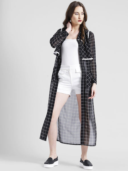 Texco Women Poly Georgette Shawl Collar Cuffed Checks Shirt - Fashiano