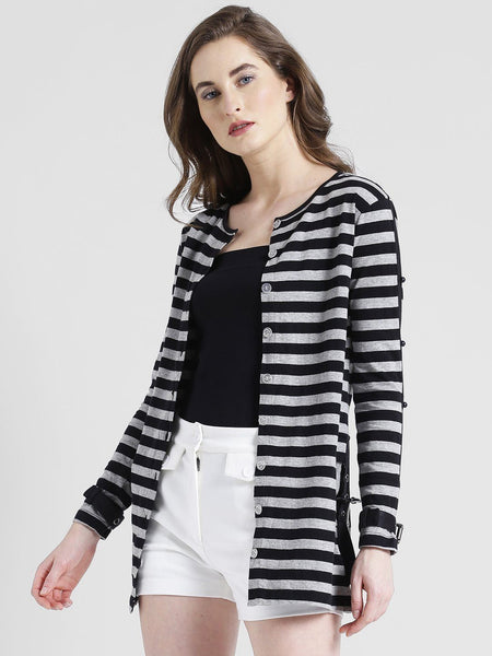 Texco Women Cotton jersey Round Neck Fashion sleeve Striped Shrug - Fashiano
