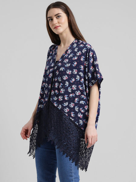 Texco Women Printed lace Detailed Kimono Shrug - Fashiano