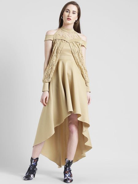 Texco Women Golden beige Polyester Lycra Halter neck Fashion sleeve Solid Dress - Fashiano