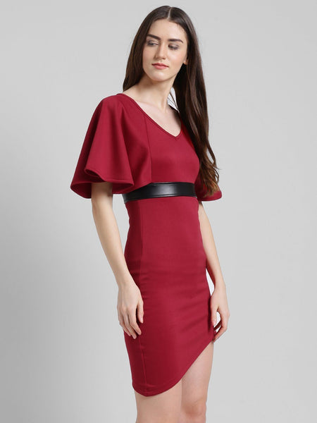 Texco Women Wings Sleeves Ruffled Detailed Party Dress - Fashiano