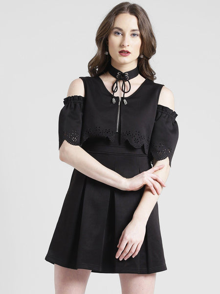 Dresses - Texco Women Polyester Lycra Choker Neck Cold Shoulder Sleeve Self Design Dress