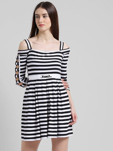 Texco Women Striped Victorian Skater Dress - Fashiano