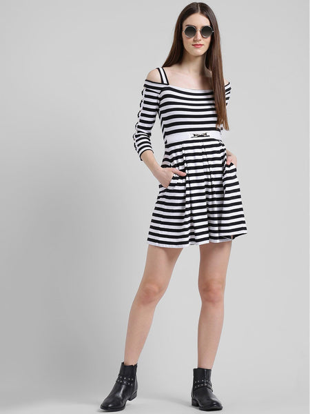 Dresses - Texco Women Striped Victorian Skater Dress