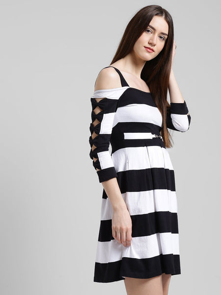 Texco Women Striped Fit or flare Dress - Fashiano