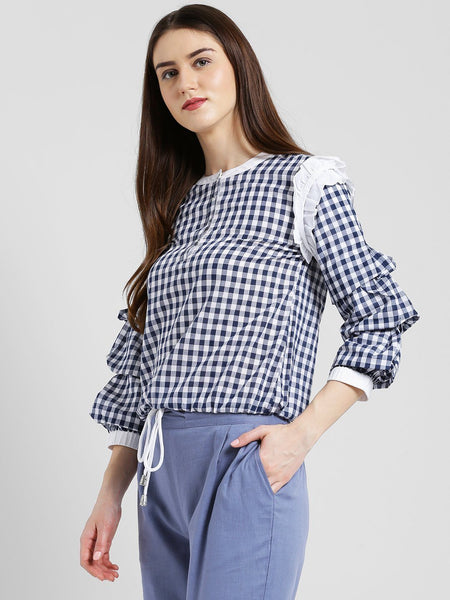 Texco Women Checked Blouson Top - Fashiano