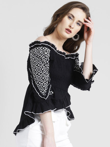 Texco Women Cotton Off Shoulder Fashion Sleeve Embroidered Top - Fashiano