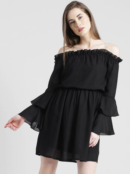 Dresses - Texco Women Summer Cool Off Shoulder Layered Solid Dress