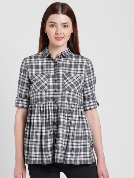 Texco Women Spread Collar Check Shirt - Fashiano