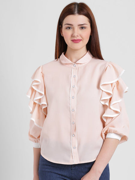 Texco Women High Round Collar Solid Shirt - Fashiano