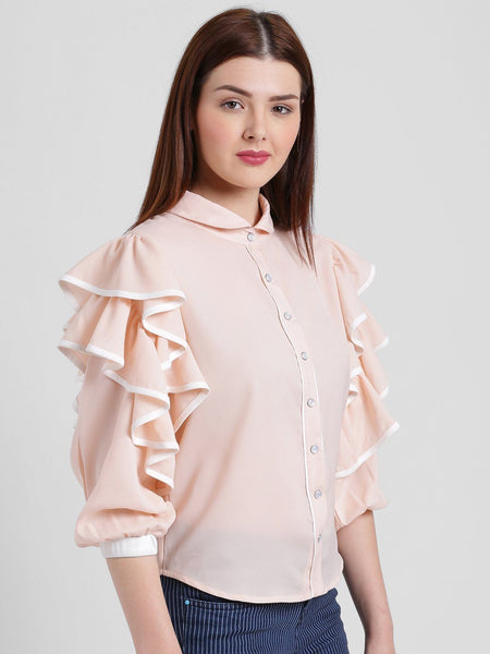 Shirts - Texco Women High Round Collar Solid Shirt