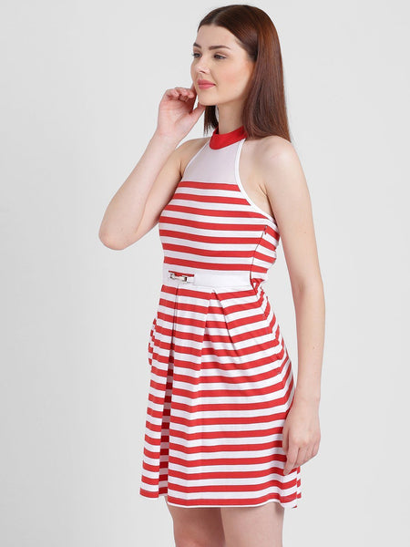 Texco Women Striped Back Style Skater Dress - Fashiano