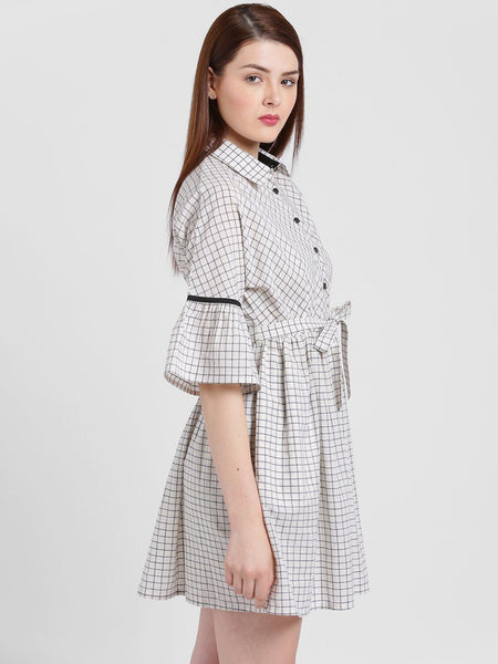 Texco Women Spread Collar Checks Dress - Fashiano