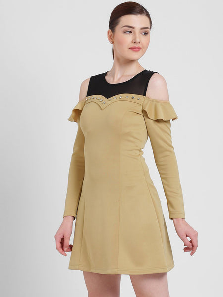 Texco Women Round Neck Embellished Dress - Fashiano
