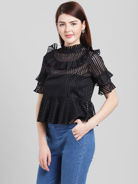 Texco Women Polyester Regular Ruffled lace top - Fashiano