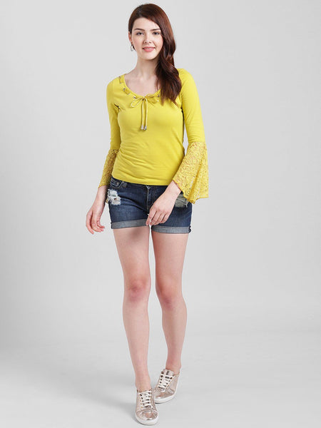 Texco Women Yellow Cotton jersey Regular Lace Top - Fashiano