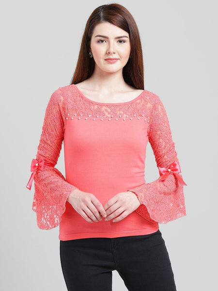 Tops - Texco Women Cotton Jersey Regular Lace Top