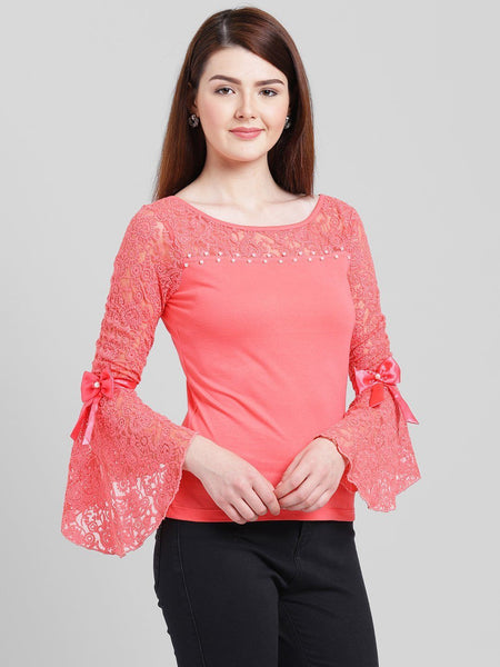 Texco Women Cotton jersey Regular Lace Top - Fashiano