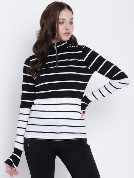 Texco Striped Mock Neck Full Sleeves Women Tops - Fashiano