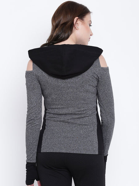 Sweat Shirts - Texco Hooded Full Sleeves Women Sweat Shirt