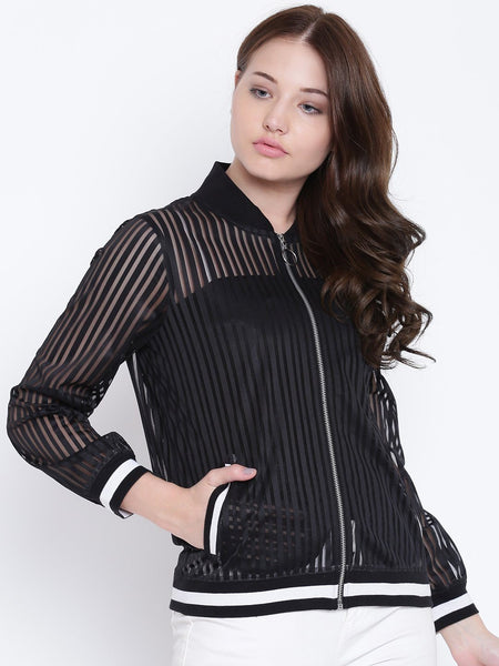 Texco Striped Bomber Neck Full Sleeves Women Jacket - Fashiano