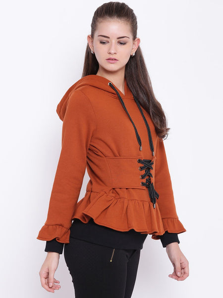 Texco Front Tie Up Details Hooded Sweatshirt For Women - Fashiano