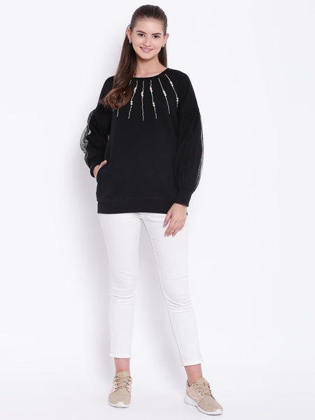 Texco Embellished Round Neck Sweatshirt For Women - Fashiano
