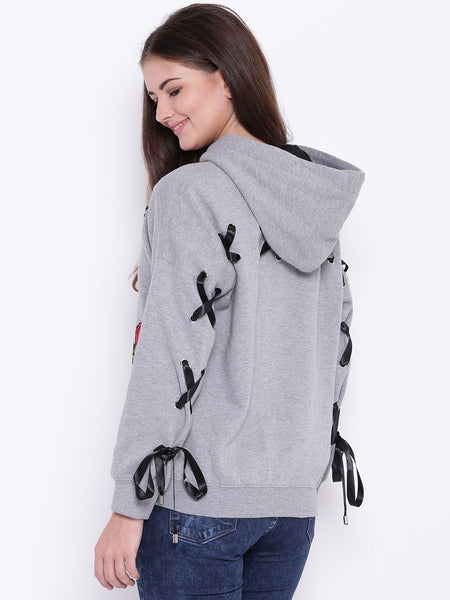 Texco Floral Embroidered Grommets Embellished Hooded Sweatshirt For Women - Fashiano